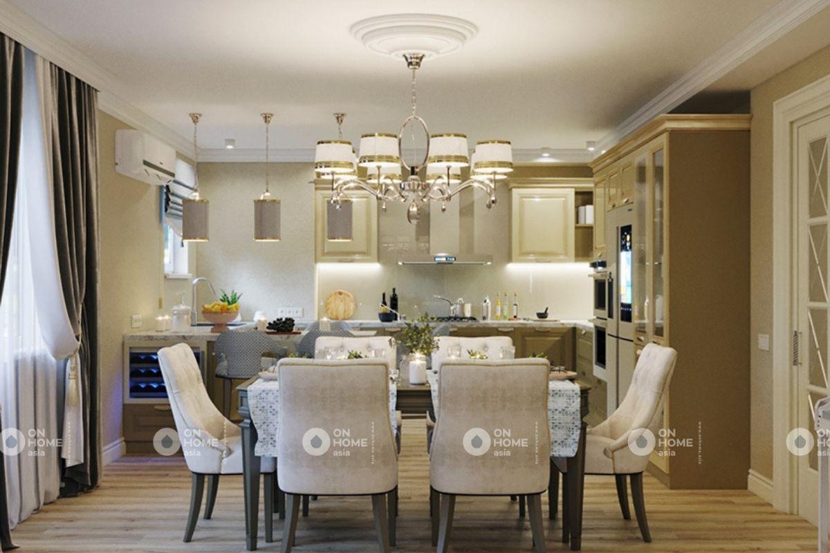 Nội thất không gian bếp căn hộ 70m2 thiết kế cổ điển