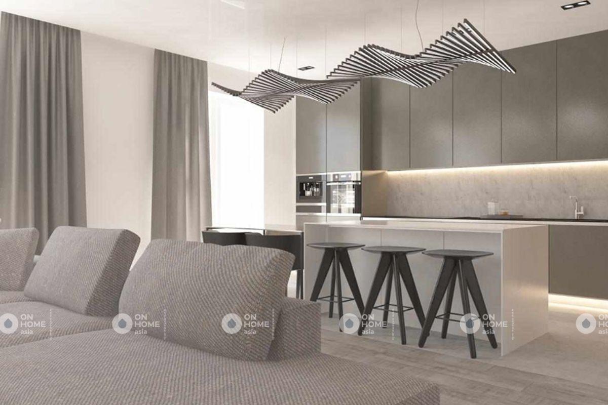 Phòng bếp hiện đại của chung cư 70m2 phong cách tối giản