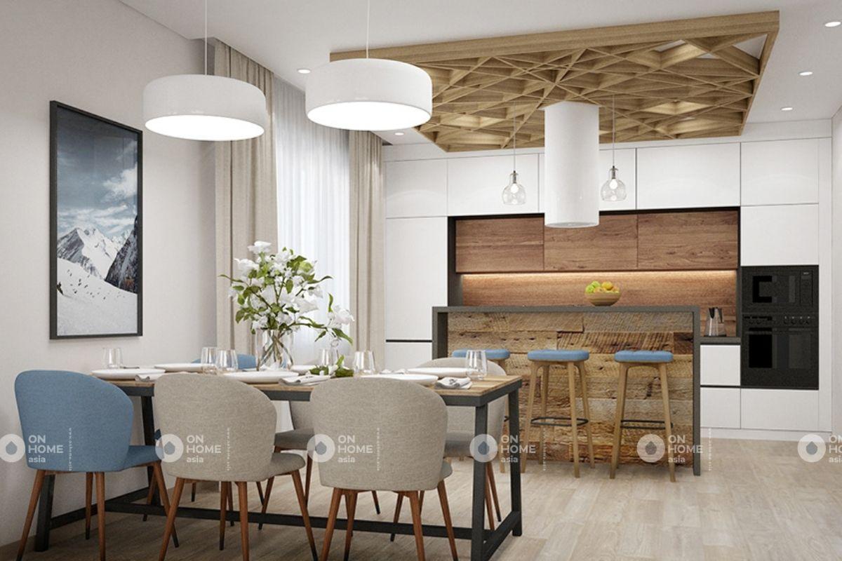 Phòng bếp nhà chung cư 70m2 tân cổ điển