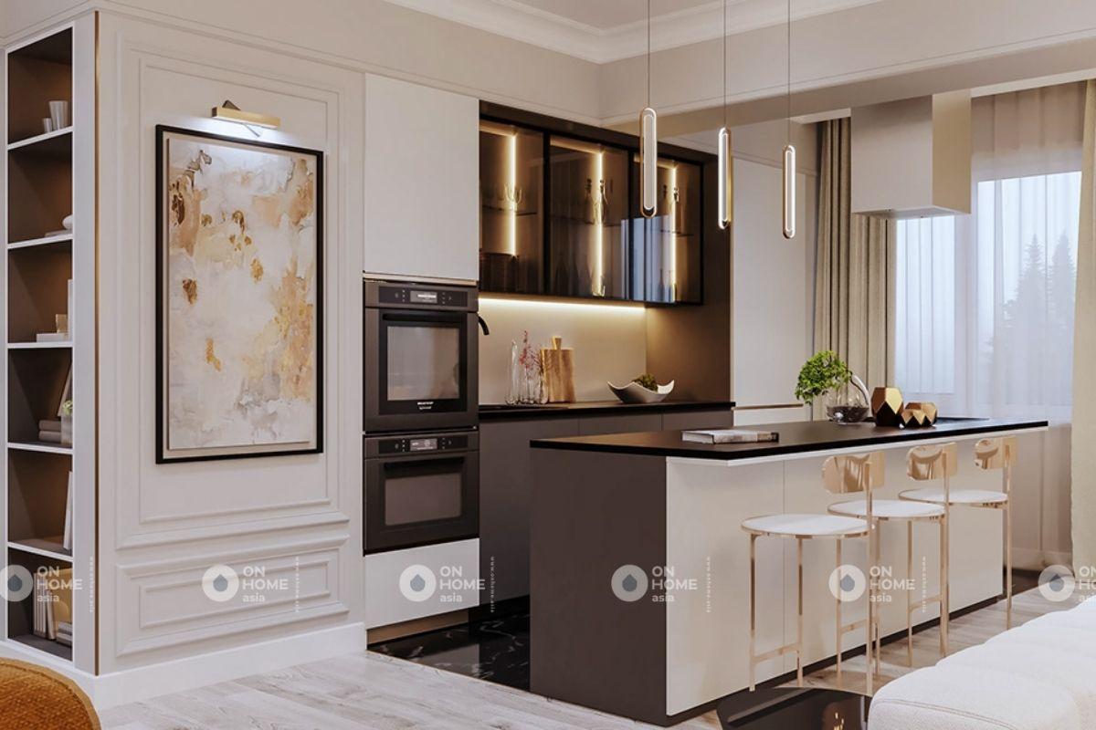 Không gian bếp chung cư 70m2 phong cách cổ điển