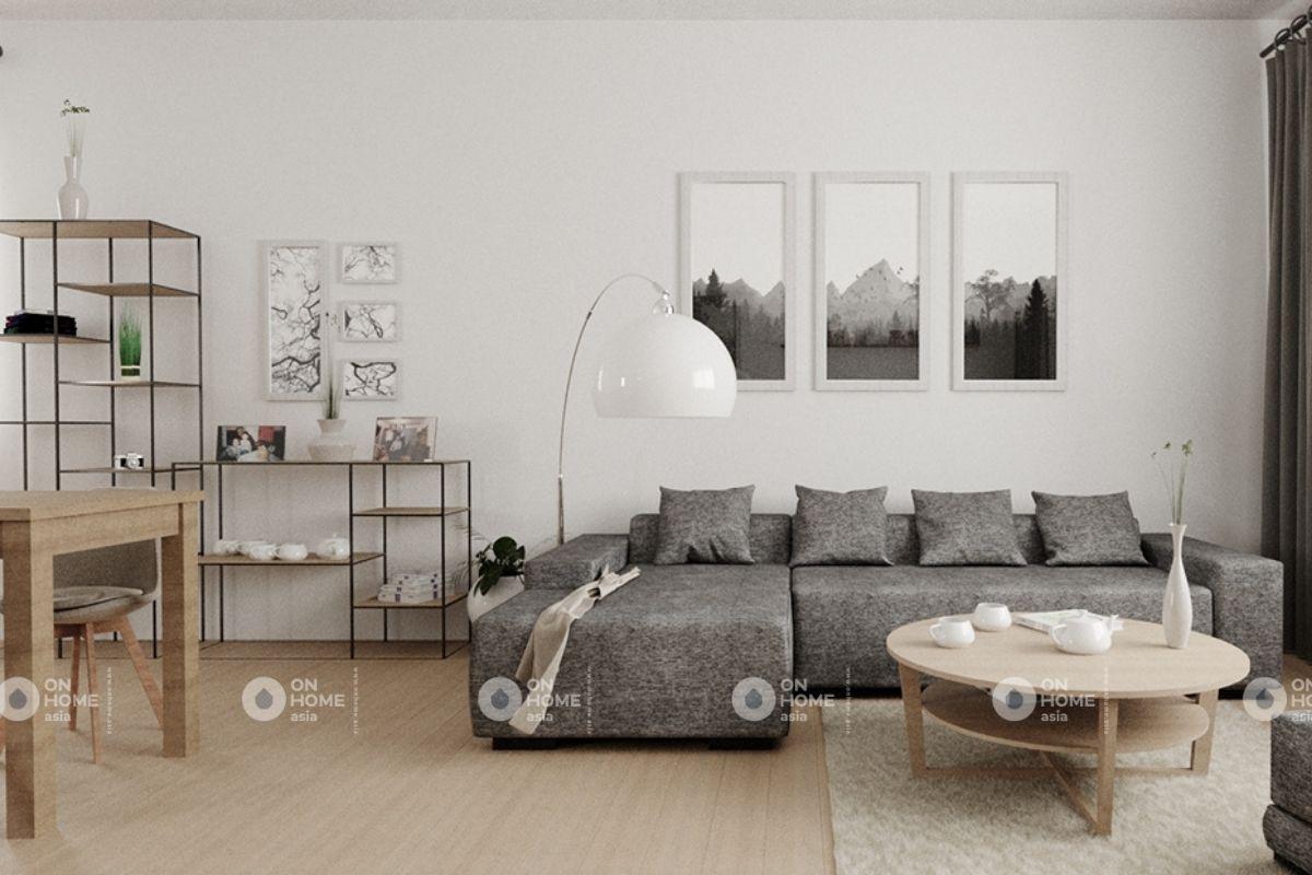 Phòng khách chung cư 70m2 phong cách tối giản