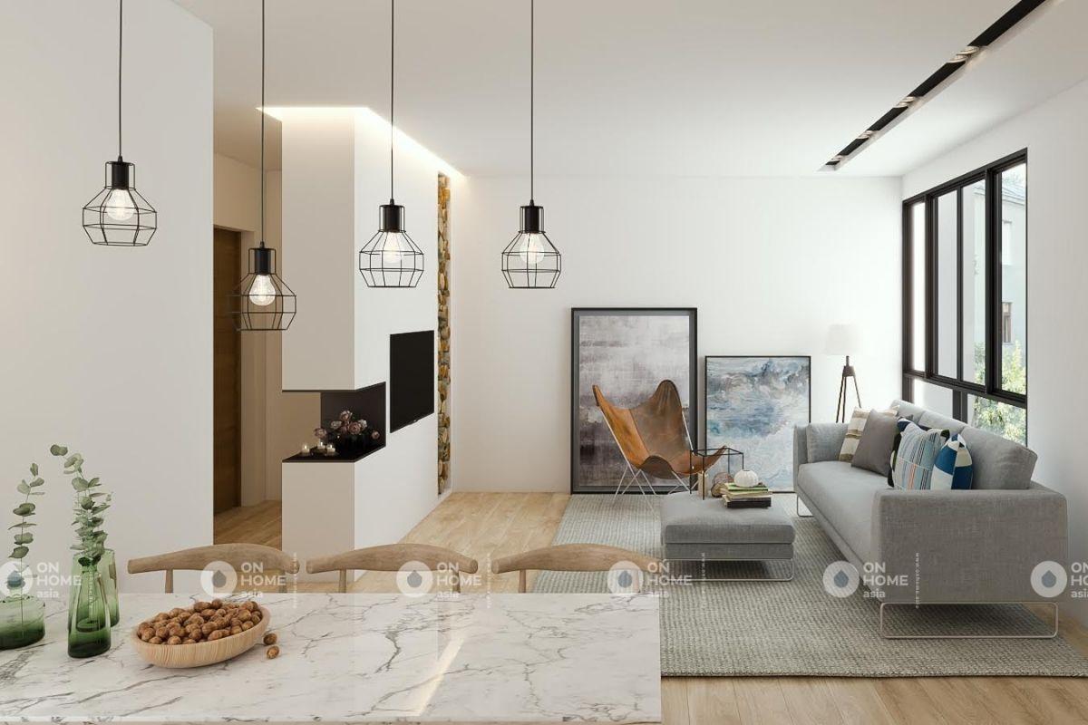 Phòng khách chung cư 70m2 tân cổ điển cực đẹp