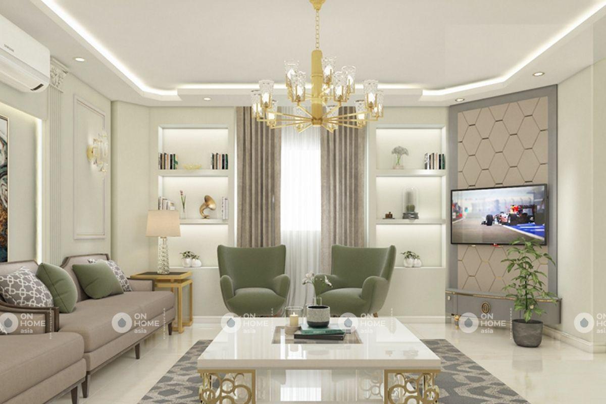 Không gian phòng khách tuyệt đẹp của chung cư 70m2