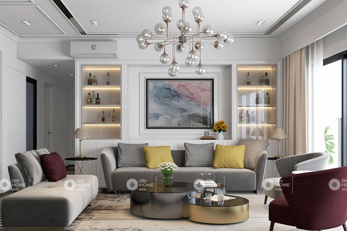 Phòng khách căn hộ chung cư 70m2 phong cách tân cổ điển