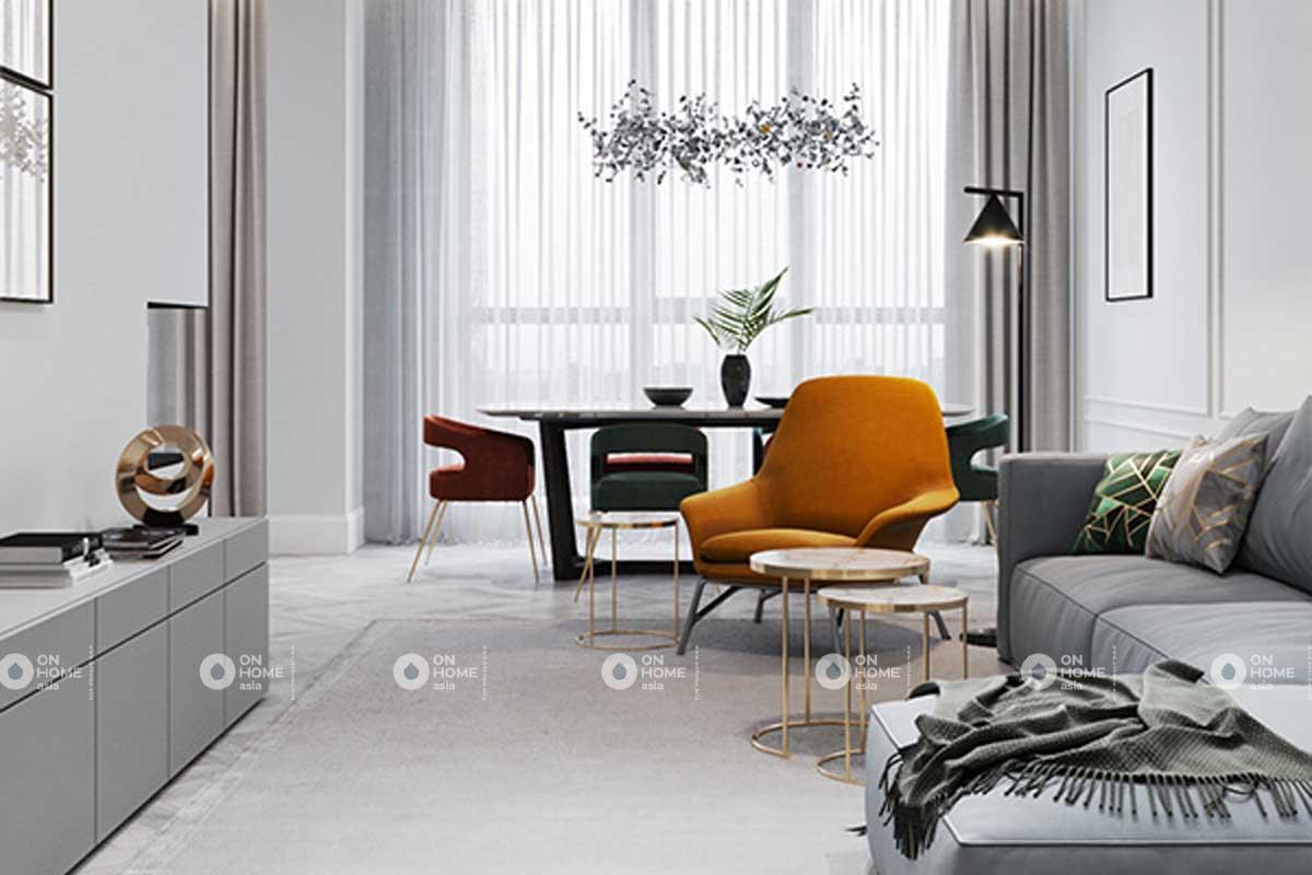 Phòng khách căn hộ tân cổ điển