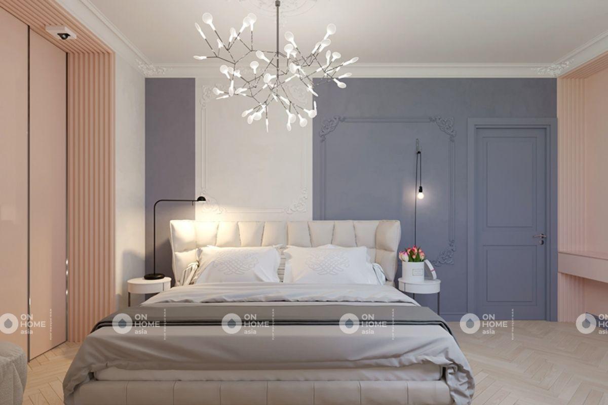 Phòng ngủ chung cư 70m2 phong cách tân cổ điển