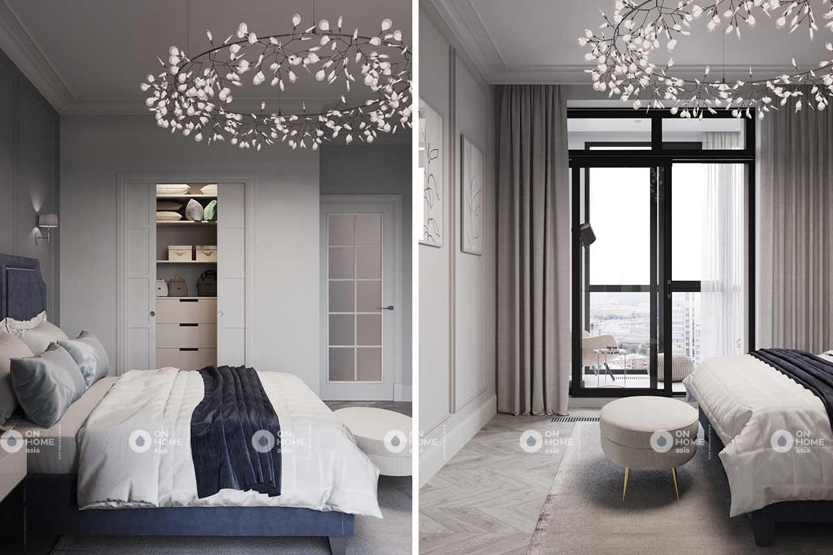 Phòng ngủ căn hộ tân cổ điển