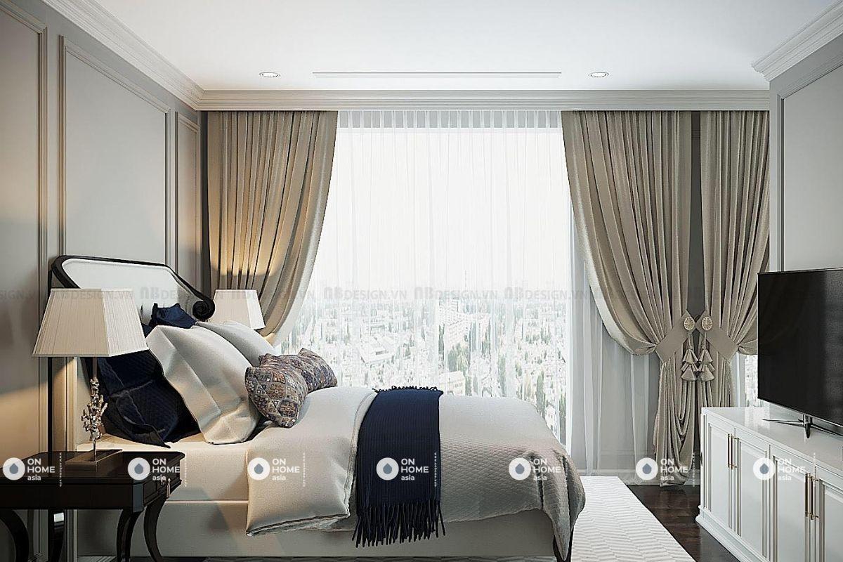 Không gian phòng ngủ căn hộ tân cổ điển