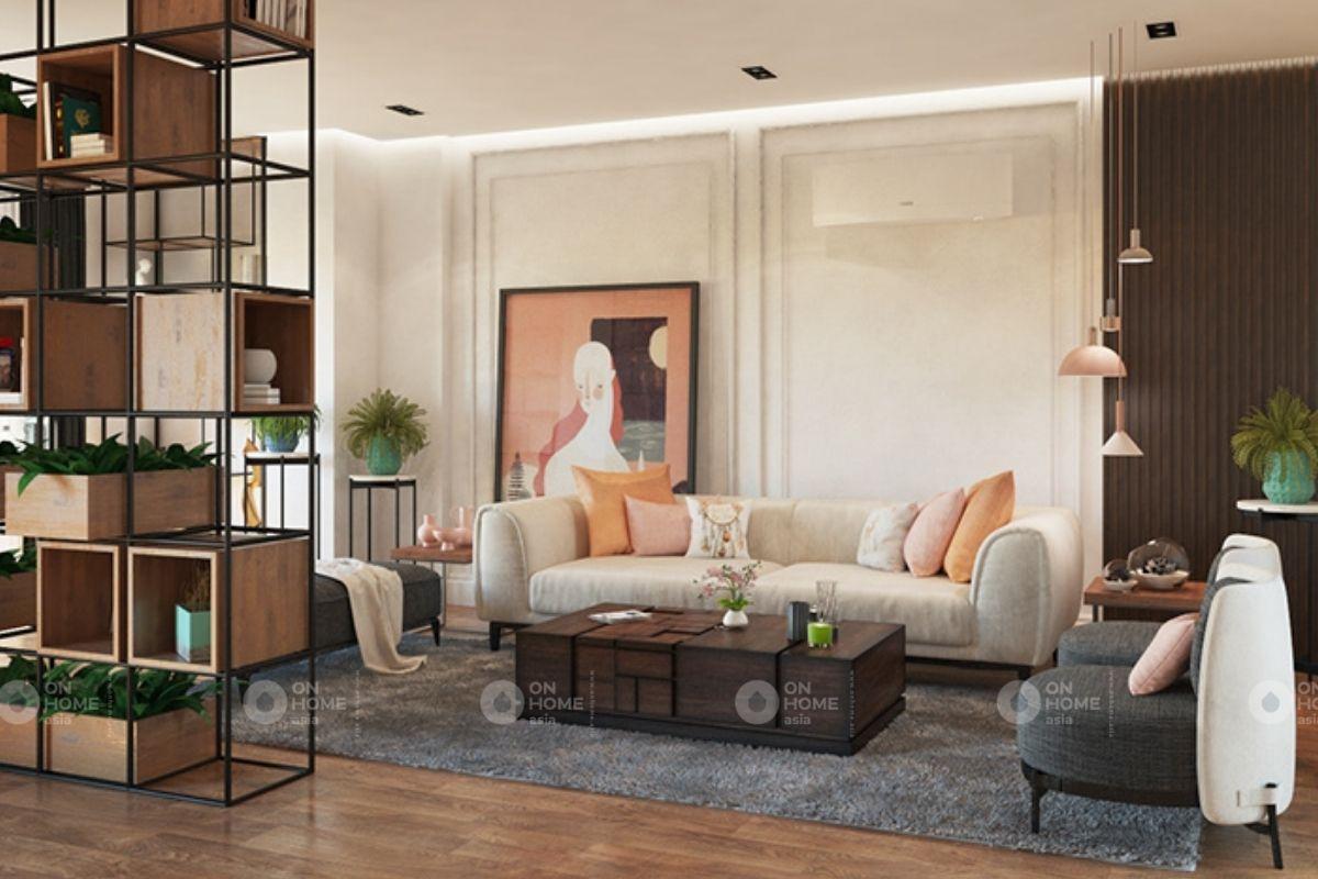 Phòng khách căn hộ chung cư phong cách hiện đại