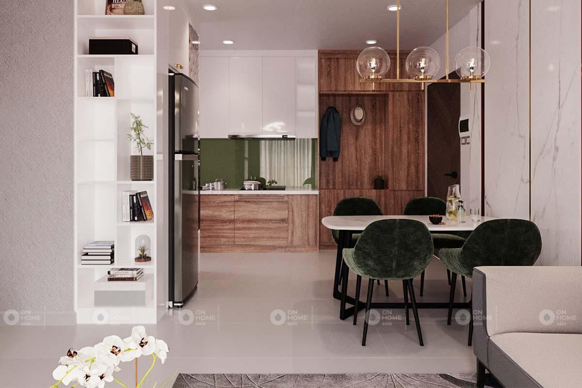 thiết kế nội thất bếp căn hộ 2 phòng ngủ