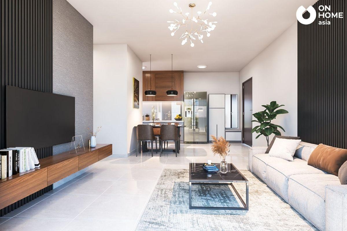 thiết kế nội thất chung cư 45m2 với không gian mở