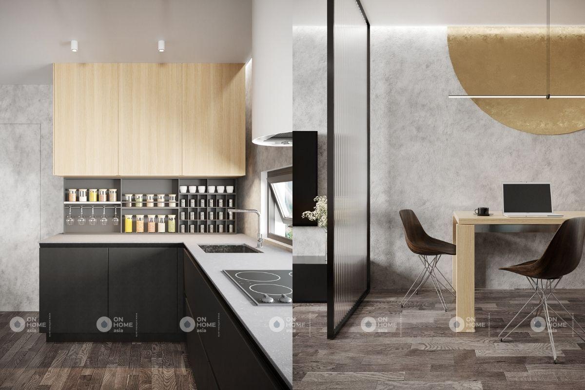 thiết kế nội thất nhà bếp chung cư 45m2