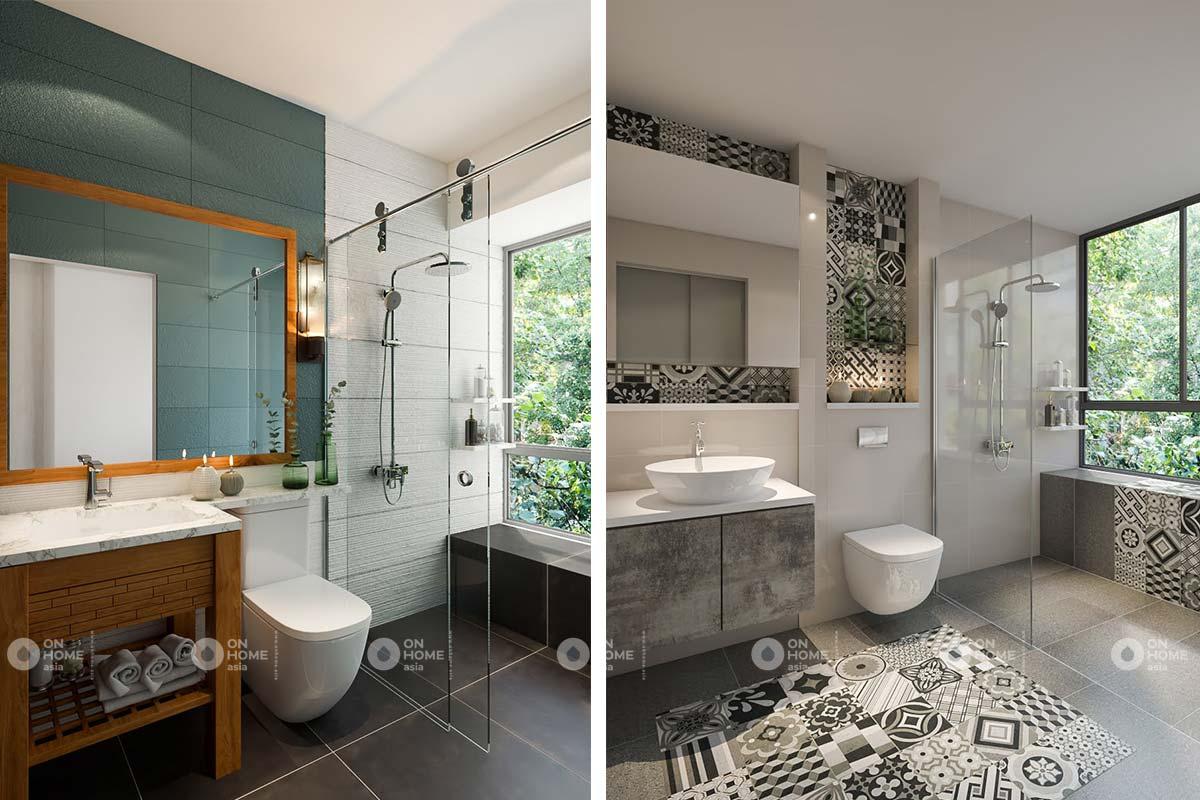 thiết kế nội thất nhà vệ sinh căn hộ 2 phòng ngủ