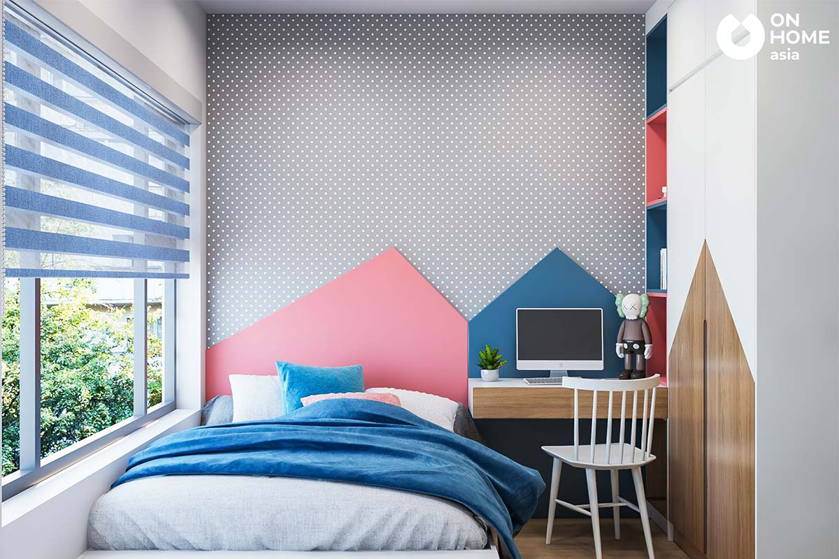 thiết kế nội thất phòng ngủ cho trẻ chung cư 2 phòng ngủ