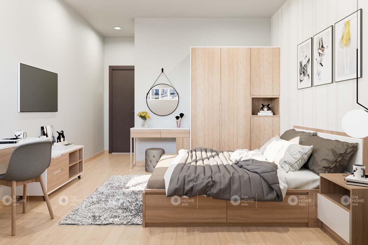 thiết kế nội thất phòng ngủ master căn hộ 2 phòng ngủ